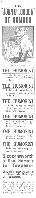 Humorist Advert in John O'Londons